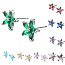 Five-Star Colorful Zircon Crystal Huggle Earrings Wedding Silver Stud Earrings