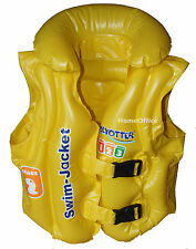 Child Inflatable Swim Jacket Vest Swimming Stage 2 Age 3 - 6 Years New Yellow