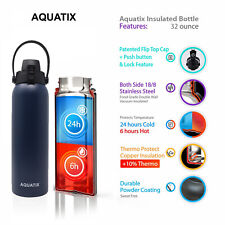 Aquatix Midnight Blue Insulated FlipTop Sport Bottle 32oz Pure Stainless Steel