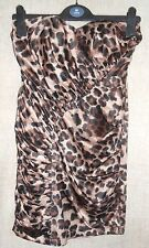 Lipsy Black & Brown Animal Print Bandeau Strapless Fitted Dress Top size 6