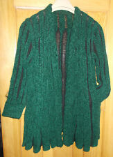 Ladies Green & Black Wool Blend Open Knitted Long Loose Jacket - Size UK L