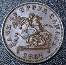 1852 BANK OF UPPER CANADA ONE PENNY TOKEN - Dragon Slayer - Br719 PC-6B