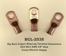 5 Bare Battery Copper Ring Terminal Connectors 20 Wire Gauge Awg 38 Stud Usa