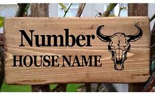 Personalised House Bull Buffalo Skull Bison Door Name plate/plaque/sign Stable