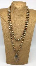 Fashion semi precious stone long knot picture jasper Natural Pendant Necklace