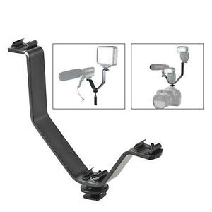 Triple Hot Shoe Mount Bracket V Shape Flash Light Speedlite Camera DSLR Holder