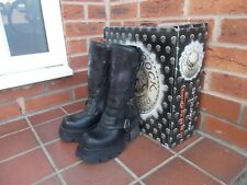 NEW ROCK REACTOR Black & Purple Leather Platform Boots * 3 uk GOTH * PUNK * BNIB