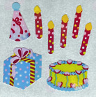 """12 packages of Pearlized Birthday Stickers, """"Great 7"""" Sticker Designs, PMP6016"""
