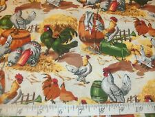 Chicken Fabric Sunny Side Up Rooster Farm Barn Yard Hay Stack Barrel BTY