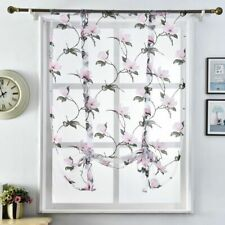 Sheer Curtains Kitchen Home Window Treatments Decorations Floral Patterned Tulle