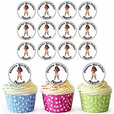Disney Princess Moana 24 Personalised Pre-Cut Edible Cupcake Toppers Girls Party