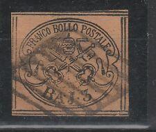 FRANCOBOLLI 1852 STATO PONTIFICIO 3 BAJ BISTRO ARANCIO Z/5979