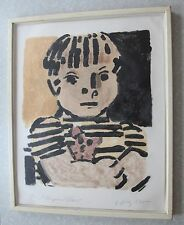 Vintage Post Modern Modernist Art Painting Signed Framed Diaz Boy Portrait MCM