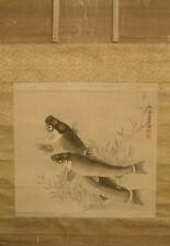 Antique - Japanese - Painting / Scroll On Silk - 2 Seals Of The Artist.