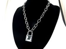 Padlock Pendant Charm 50 cm Oval Link Chain Necklace with 2 Keys (Clear Color)