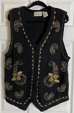 Vintage 80s Donnkenny Sweater Vest Paisley Sequins & Beads Oversized Size Medium