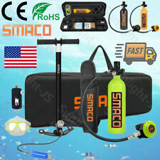 Smaco Mini Scuba 15-20Mins Diving Kit 1L Oxygen Cylinder Tank Air Hand Pump Usa