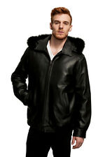 Mason & Cooper Lanza Leather/Fox Trim Bomber Jacket