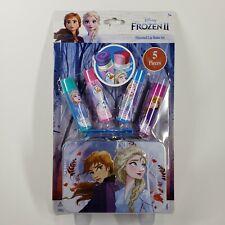 Disney FROZEN II 5 Pc FLAVORED LIP BALM Gift Set & Tin Case w Handle BRAND NEW