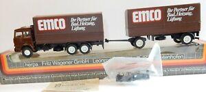 RARE HERPA HO 1/87 CAMION MAGIRUS IVECO + REMORQUE EMCO IN BOX
