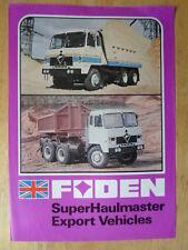 FODEN TRUCKS SuperHaulmaster Export Vehicles 1980 UK Mkt Sales Leaflet Brochure