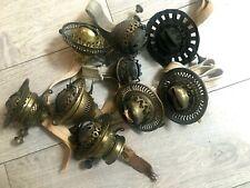 9 antique brass oil lamp burners