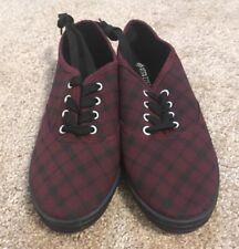 Full Tilt Canvas Lace Up Plaid Shoes - Black & Burgundy - Size 7 US Women's