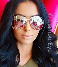 HOT Large Rose Pink Yellow Light Mirror Gold Metal Frame Aviator Sunglasses 3683