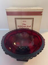 Vintage Avon 1876 Cape Cod Ruby Red Cranberry Glass Pedestal Candy Dish ~ In Box