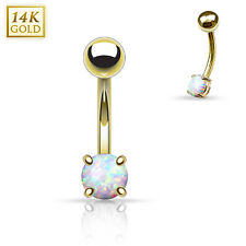 "1 Pc 14K Yellow Gold with 3mm White Opal Eyebrow Rings 16g 5/16"" Curved Barbell"