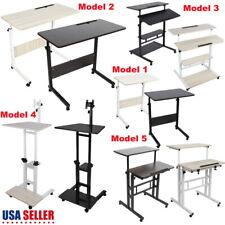 5 Model Height Adjustable Computer Mobile Rolling Desk Laptop Table Bed Stand US