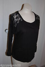 Womens Knit Shirt BLACK Lace Panel Back SLEEVE ROLL BUTTON Long Back 3X 22-24