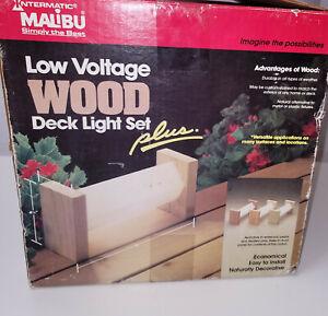 NOS Vtg Malibu Low Voltage Wood Deck Light Set Plus 4 Redwood Fixtures LD2364R