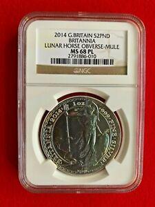 2014 Britannia Mule Error w/ Lunar Horse Obverse 1 OZ Silver Coin - NGC MS68 PL