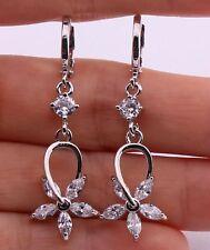 18K White Gold Filled - Hollow Moving Flower Topaz Hoop Dangle Women Earrings