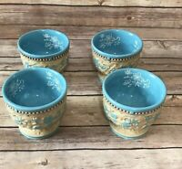 Temp-tations Pedestal Cups Set of 4 Floral Lace Basketweave Light Blue New