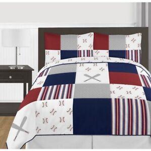 Red White Blue Baseball 3 Pc. Full / Queen Kid Teen Bedding Set Sweet Jojo