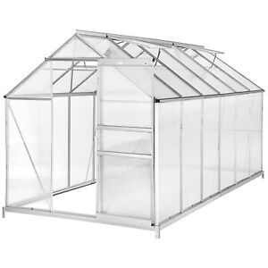 Serre de jardin polycarbonate alu avec base légume plante jardinage 11,13m³