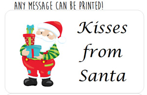 PERSONALISED CHRISTMAS SWEET PARTY BAG SANTA KISSES STICKERS LABELS #1