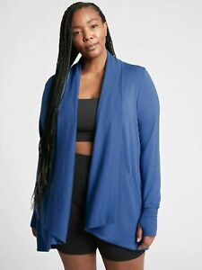ATHLETA Pranayama Wrap  PLUS 2X | Chrome Blue Sweater Top NEW