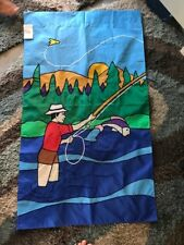 Fly Fisherman / Fishing Lake Scene Recreation Handmade Decorative Flag