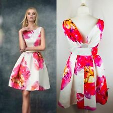 NEW Carla Ruiz Size 12 Pink & White Flower Print Dress Fit & Flare Cruise/Formal