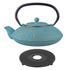 D.line Teaology Cast Iron Tea Pot 800ml Butterfly Turquoise / Gold BONUS TRIVET!