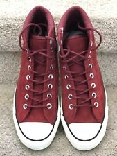 Unisex Maroon Suede Leather High Top Converse All Star Athletic Casual Shoe