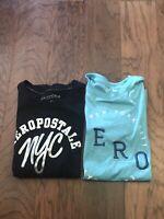 Aeropostale Teen Girls Set Of 2 Shirts Blue Black Size M