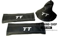 FOR AUDI TT 98-06 LEATHER GEAR GAITER+SEAT BELTS COVERS GREY TT EMBROIDERY LOGO