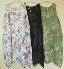 """New Plus Size LAGENLOOK Quirky BALLOON Shaped FLORAL LONG LINEN Dress XXL 52"""""""