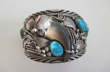 Large Native American Indian Robert Kelly IHMSS Turquoise Sterling Bracelet