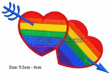 Hearts arrow rainbow iron sew on patch LGBT gay pride  badge  #136