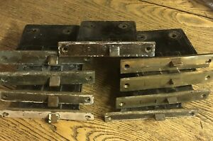 9 Matching Antique Brass Plated Mortise Locks c1900
